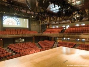 From the vantage point of the stage, there are dozens of theater seats on the first and second level of the open theater at Temple Performing Arts Center